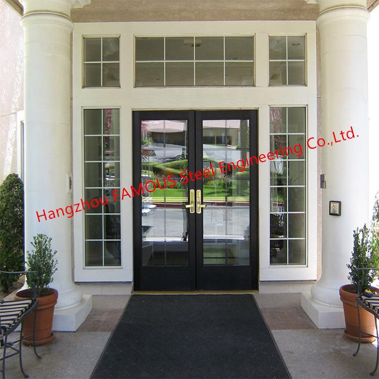 Commercial Aluminum Glass Door For Residence  Glass Sliding Partition in Black Aluminum Frames (4)_副本