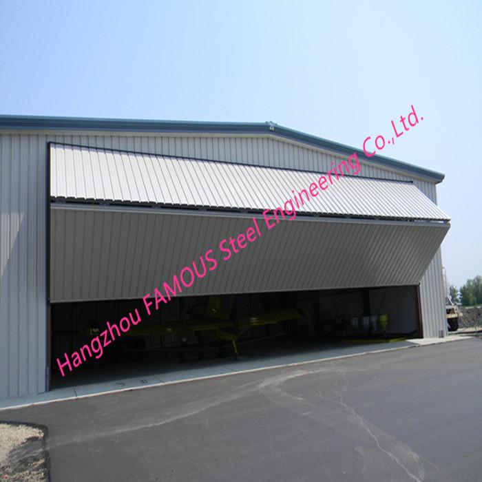 Dual Panel Hydraulic Hangar Door Upper Folding Industrial Garage Doors With Hard Metal Sandwich Panel_副本