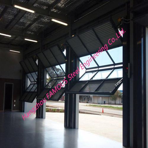 Expandable Bi-Folded Hangar Door High Strength Metal Frame Glass Garage Door_副本