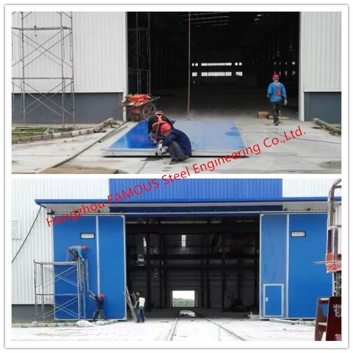 Large Openings Vertical Sliding Industrial Garage Doors Motorised Heavy Sliding Doors With Steel Track